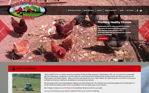 "Screenshot of Home Page libertydelightfarms.com - Liberty Delight Farms | ""Providing Healthy Choices"". - captured Sept. 19, 2014"