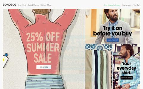 Screenshot of Home Page bonobos.com - Bonobos Men's Clothes - Pants, Shirts and Suits - captured July 18, 2014