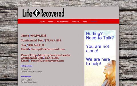 Screenshot of Contact Page liferecovered.com - Contact «  Life Recovered - captured July 19, 2018