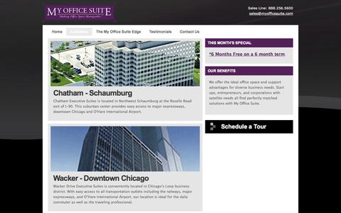 Screenshot of Locations Page myofficesuite.com - Chicagoland Office Rentals - Meeting Rooms - captured Oct. 26, 2014