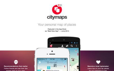 Screenshot of Home Page citymaps.com - Citymaps - captured Sept. 13, 2014