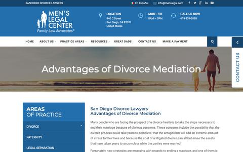 Screenshot of Press Page menslegal.com - Advantages of Divorce Mediation | Family Law | Men's Legal Center - captured Oct. 17, 2018