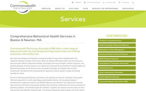 Screenshot of Services Page commpsych.com - Services - Commonwealth Psychology | Commonwealth Psychology - captured Nov. 9, 2016