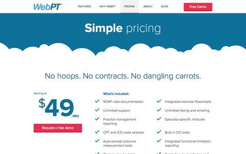 Screenshot of Pricing Page webpt.com - Pricing | WebPT - captured Sept. 17, 2014