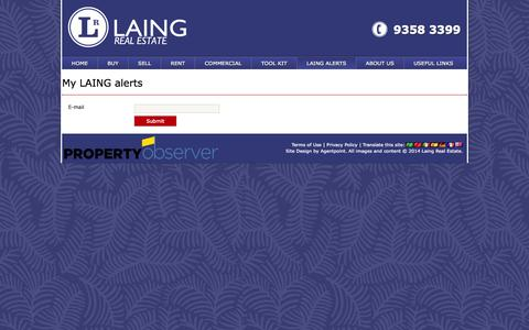 Screenshot of Login Page laing.com.au - My LAING alerts   Laing Real Estate - captured Oct. 1, 2014