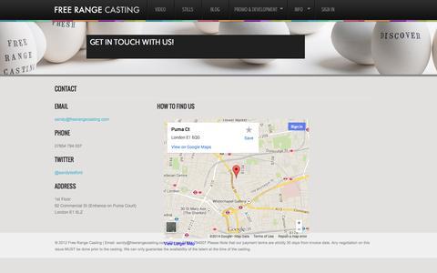 Screenshot of Contact Page freerangecasting.com - Contact | Free Range Casting - captured Sept. 30, 2014
