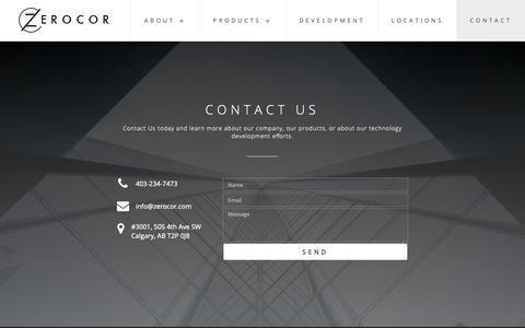 Screenshot of Contact Page zerocor.com - Contact - Zerocor Technologies Ltd. - captured Oct. 18, 2018