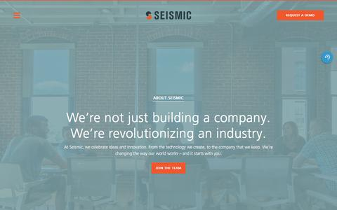 Screenshot of About Page seismic.com - About Seismic | Seismic - captured Aug. 30, 2016