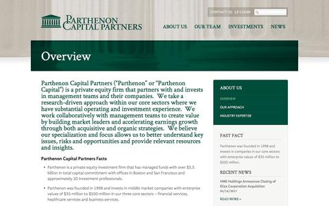 Screenshot of About Page parthenoncapitalpartners.com - Overview |  Parthenon Capital - captured July 14, 2017