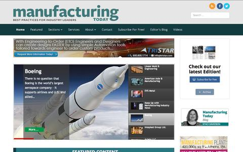 Screenshot of Home Page manufacturing-today.com - Home - Manufacturing Today - captured Dec. 31, 2016