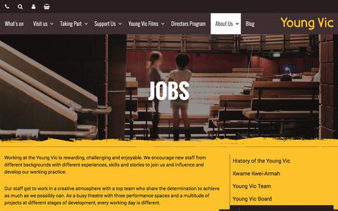 Screenshot of Jobs Page youngvic.org - Jobs | Young Vic website - captured Sept. 21, 2018