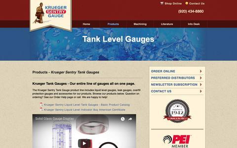 Screenshot of Products Page ksentry.com - Tank Level Gauges - Automatic Tank Gauge | Krueger Sentry Gauges - captured Oct. 16, 2018