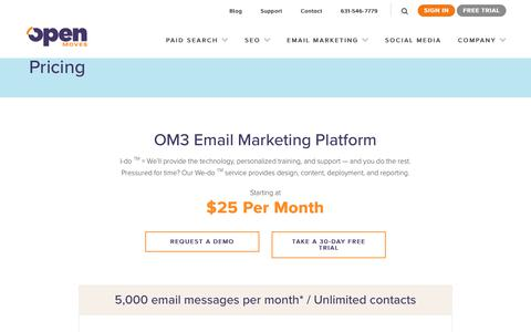 Screenshot of Pricing Page openmoves.com - Pricing - OpenMoves NY Digital Marketing - captured Sept. 21, 2018