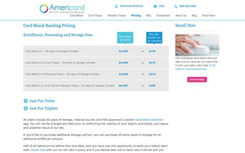 Screenshot of Pricing Page americordblood.com - Cord Blood Banking Cost | Americord - captured Nov. 2, 2014