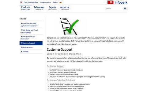 Screenshot of Support Page infopark.com - Support | Infopark AG - captured Nov. 3, 2014