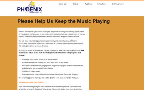 Screenshot of Support Page phoenixredbank.com - Phoenix Productions Inc. » Please Help Us Keep the Music Playing - captured July 30, 2017