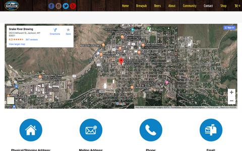 Screenshot of Contact Page snakeriverbrewing.com - Contact - Snake River Brewery - captured Sept. 21, 2018