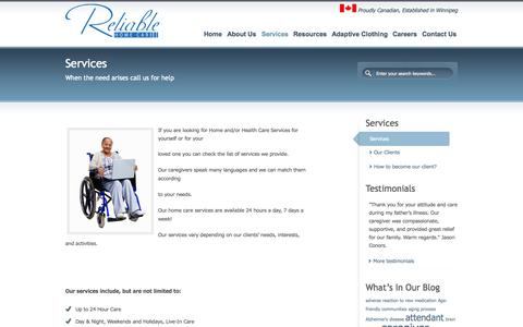 Screenshot of Services Page reliablehomecare.ca - Services | Reliable Home Care Agency - captured Oct. 26, 2014