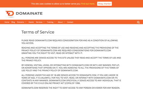 Screenshot of Terms Page domainate.com - Terms of Service - Domainate - captured Aug. 7, 2018