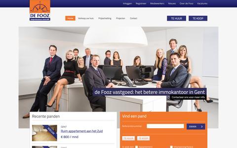Screenshot of Home Page defooz.com - Uw partner in vastgoed, uw immokantoor in Gent   de Fooz - captured Sept. 24, 2014