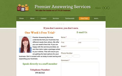Screenshot of Trial Page premieransweringservices.ie - Free Trial - Premier Answering Services - captured Sept. 30, 2014