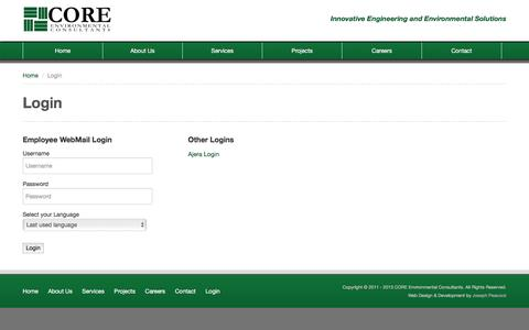 Screenshot of Login Page coreenv.com - Login | CORE Environmental Consultants - captured Jan. 31, 2016