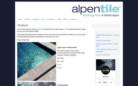 Screenshot of Products Page alpentile.com - Products : Alpentile Glass Tile Pools and Spas - captured July 25, 2016