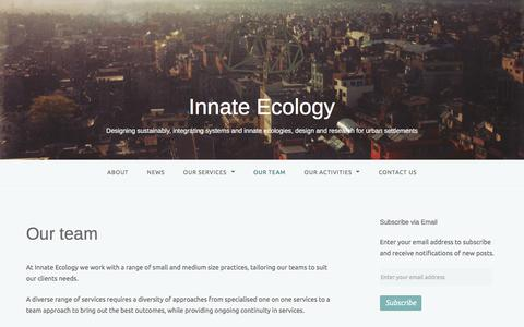 Screenshot of Team Page innateecology.com - Our team – Innate Ecology - captured Aug. 6, 2016