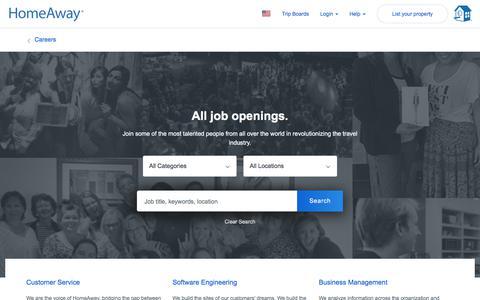 Screenshot of Jobs Page homeaway.com - Jobs at HomeAway - captured Sept. 24, 2018