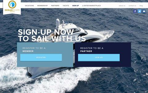 Screenshot of Signup Page oceanscapeyachts.com - OceanScape Yachts - Sign Up | PreRegister for More Information - captured Jan. 10, 2016