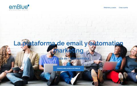 Screenshot of Home Page embluemail.com - email marketing | emBlue - captured March 21, 2017