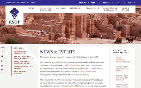Screenshot of Press Page asor.org - –  NEWS & EVENTS - captured Oct. 8, 2017
