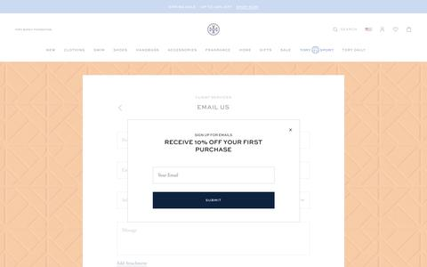 Screenshot of Contact Page toryburch.com - Email Us - captured May 16, 2019