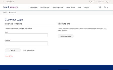 Screenshot of Login Page healthjourneys.com - Customer Login - captured July 17, 2018