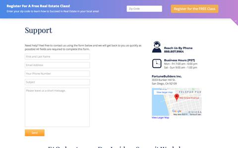 Screenshot of Support Page fortunebuilders.com - FortuneBuilders Customer Support - captured Nov. 21, 2019