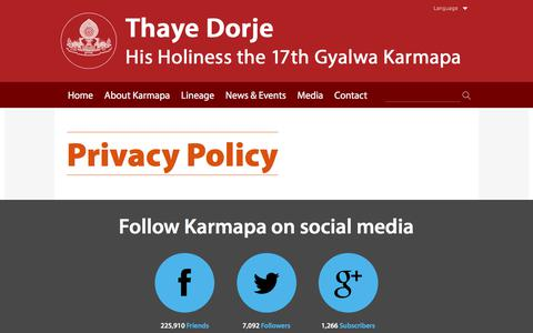 Screenshot of Privacy Page karmapa.org - Privacy Policy - The 17th Karmapa: Official website of Thaye Dorje, His Holiness the 17th Gyalwa Karmapa - captured July 31, 2017