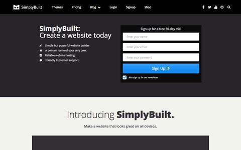 Screenshot of Signup Page simplybuilt.com - SimplyBuilt: Domains, DIY Website Builder, and Hosting all in one place. | How to create a website - captured Feb. 10, 2016