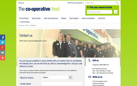 Screenshot of Contact Page co-operativefood.co.uk - Contact us by phone, email or post | Co-operative Food | The Co-operative Group - captured Sept. 18, 2014