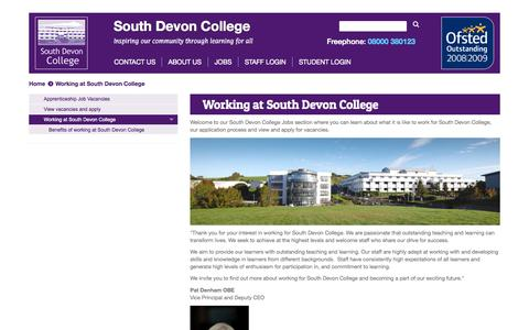 Screenshot of Jobs Page southdevon.ac.uk - Working at South Devon College - captured Aug. 15, 2015