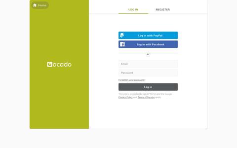 Screenshot of Login Page ocado.com - Log in to your Ocado account | Ocado - captured June 6, 2019