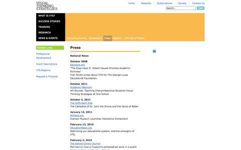 Screenshot of Press Page vtshome.org - News & Events - Press - Visual Thinking Strategies - captured Oct. 26, 2014