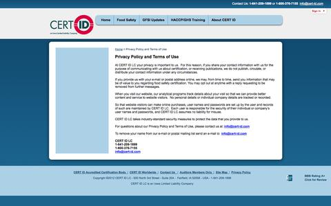 Screenshot of Privacy Page cert-id.com - Privacy Policy and Terms of Use | CERT ID - captured Sept. 26, 2014