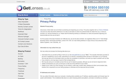 Screenshot of Privacy Page getlenses.co.uk - Privacy Policy | GetLenses - captured Sept. 16, 2014