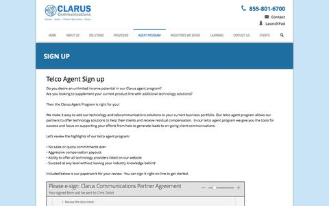 Screenshot of Signup Page clarusco.com - Teleco Agent - Sign Up | Clarus Communications - captured Oct. 2, 2014
