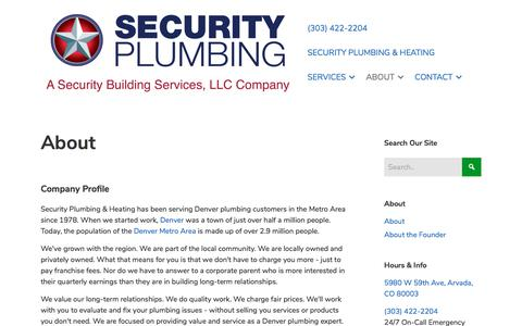 Screenshot of About Page securitybuildingservices.com - Denver Plumbing, Plumber, Drain Cleaning   Security Plumbing - captured Sept. 25, 2018