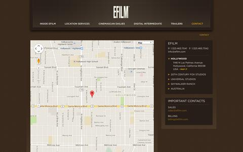 Screenshot of Contact Page efilm.com - EFILM / Contact - captured Sept. 26, 2014