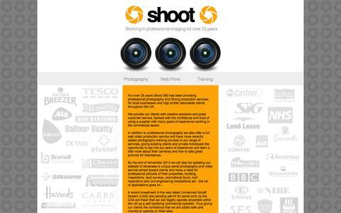 Screenshot of Home Page shoot360.co.uk - Shoot360 - captured Oct. 6, 2014