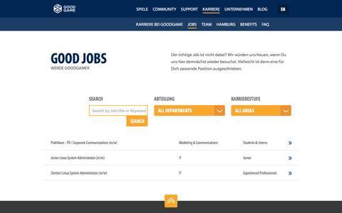 Screenshot of Jobs Page goodgamestudios.com - Offene Stellenangebote - Goodgame Studios - captured Nov. 22, 2016