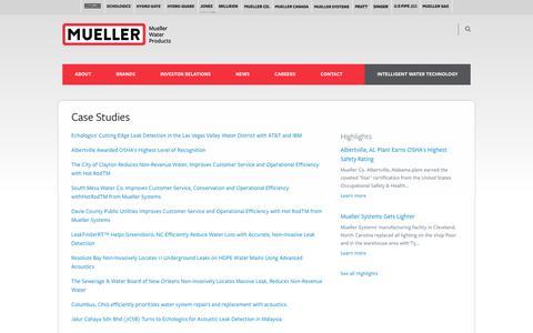 Screenshot of Case Studies Page muellerwaterproducts.com - Case Studies | Mueller Water Products - captured Oct. 20, 2018