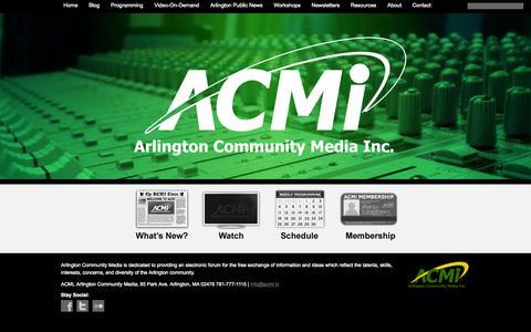 Screenshot of Home Page acmi.tv - Arlington Community Media, Inc. - captured Oct. 4, 2014